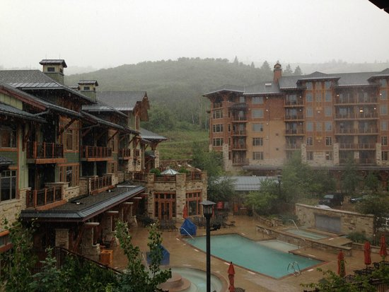 Hyatt Centric Park City: View from Balcony (yes it's snowing, in June)