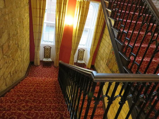 Dalhousie Castle: Stairs to room