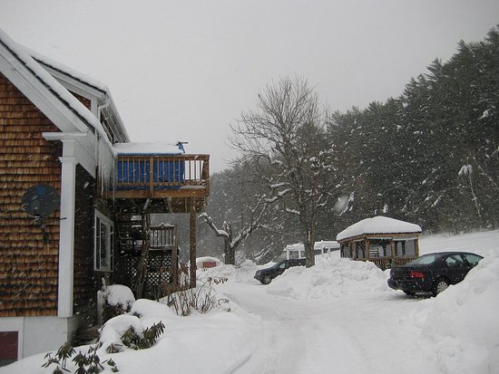 Blueberry Farm Bed & Breakfast: Side Facade, Parking and Pool (covered for winter)