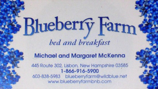 Blueberry Farm Bed & Breakfast : Blueberry Farm Bed and Breakfast (business card)
