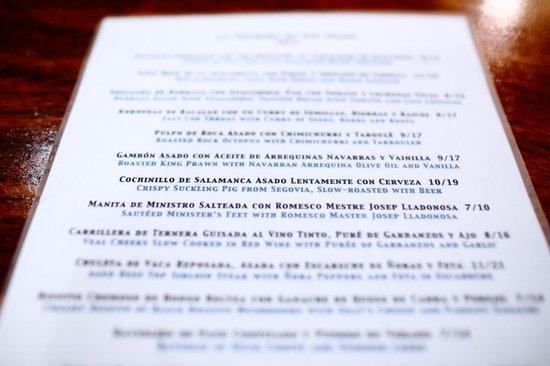 La Cuchara de San Telmo: The menu