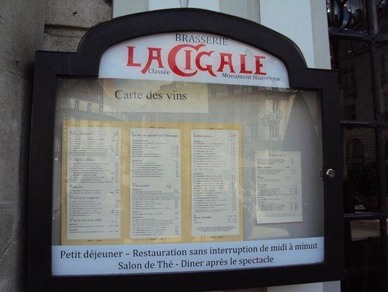 La Cigale: Cartel de menús