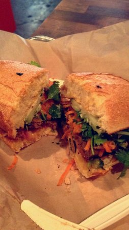 Num Pang Sandwich Shop: Ginger Beef Brisket (left) and Spicy Sausage (right)