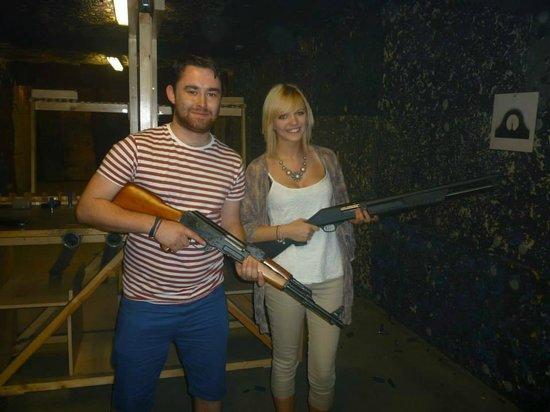 Celeritas Shooting Club: posing with the AK47 and remmington