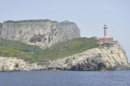 Lido del Faro: El Restaurante y la Playa del faro vista desde el mar