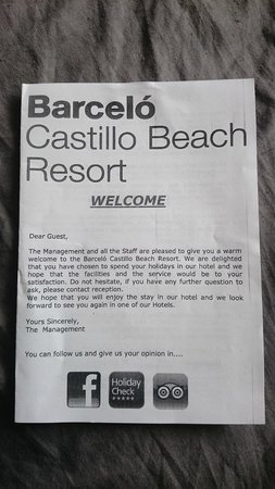 Barcelo Castillo Beach Resort : Induction leaflet issued on arrival1