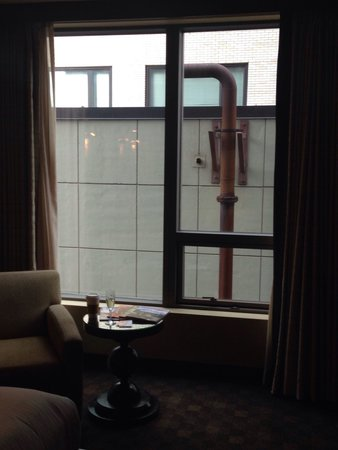 Loews Hotel 1000, Seattle: Our room had this view of a wall and a drainage pipe. Beware of the view you might get stuck wit