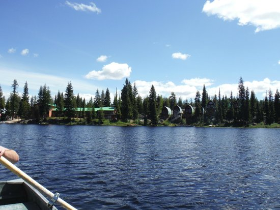Idabel Lake Resort: View from the included boats of the resort rooms and cabins
