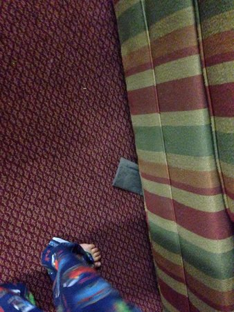 Extended Stay America - St Louis - Airport - Central: Foam pieces sticking out from under the sofa. The sofa cushion was ripped also.