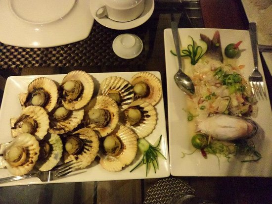 "Anika Island Resort: Yummy scallops and the super fresh kilawin ""catch of the day"""