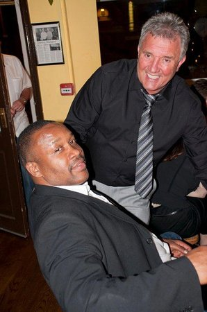 Tim Witherspoon and me in the Tiramisu restaurant