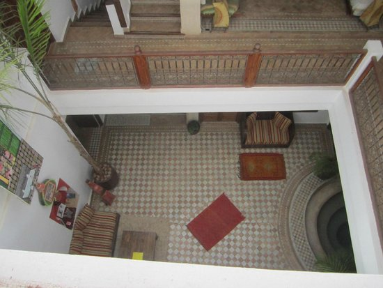 Riad 107: View into the Riad from the roof terrace