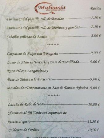 Casa de vinos y pintxos Malvasia: Carta