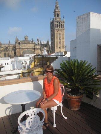 Hotel Casa 1800 Sevilla : dakterras met zicht op de kathedraal