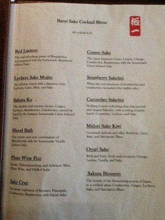 Banyi Japanese Dining: Cocktail menu