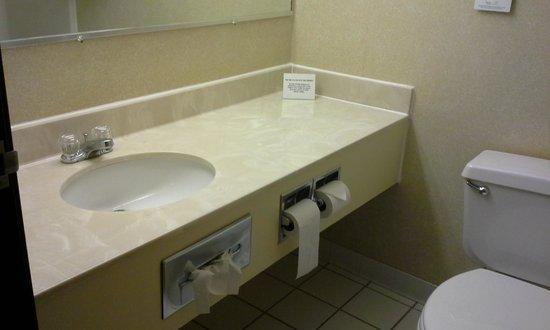Quality Inn: Bathroom sink with large mirror