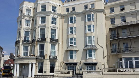 Royal Albion Hotel-Brighton: Rusting falling apart building. Nothing like their own photos.