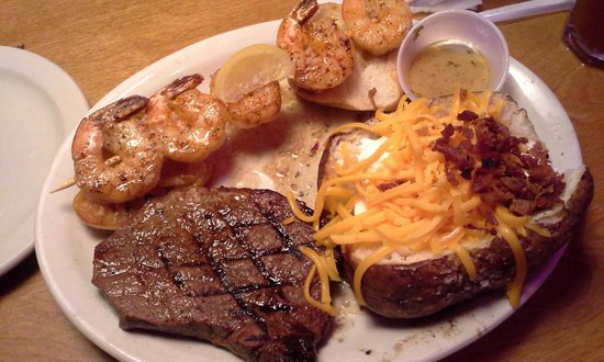 Texas Roadhouse: Sirloin Steak with Grilled Shrimp Combo & Baked Potato on the side