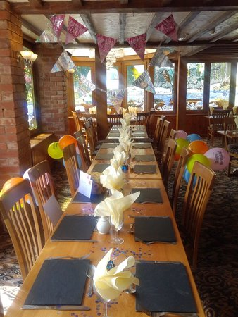 our table in the conservatory of The Plough Inn
