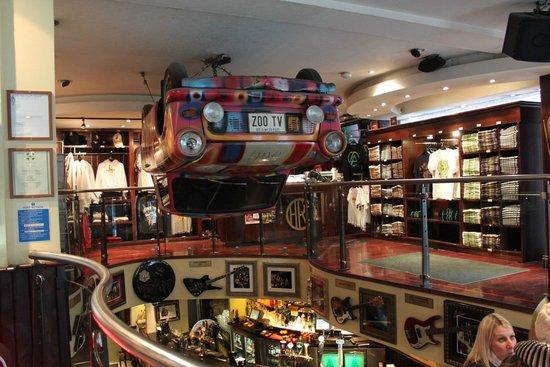 Hard Rock Cafe: An upside-down car
