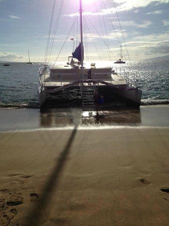 Teralani Sailing: Fun getting on from the beach!