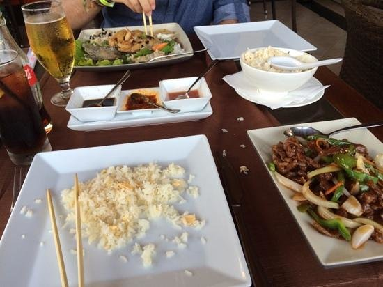 Imperial Tai-Pan: Crispy chilli beef and tempura black bean seabass