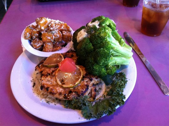 Backwater Jacks Bar & Grill : Jerk chicken with steamed broccoli and fried potato salad.