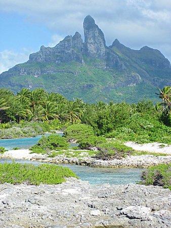 The St. Regis Bora Bora Resort: Mt Otemanu from the ocean side of property
