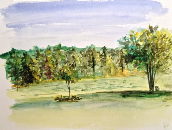 On Cranberry Pond Bed and Breakfast: Watercolor painting from porch