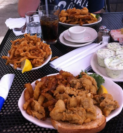 whole clams and a side of clam strips