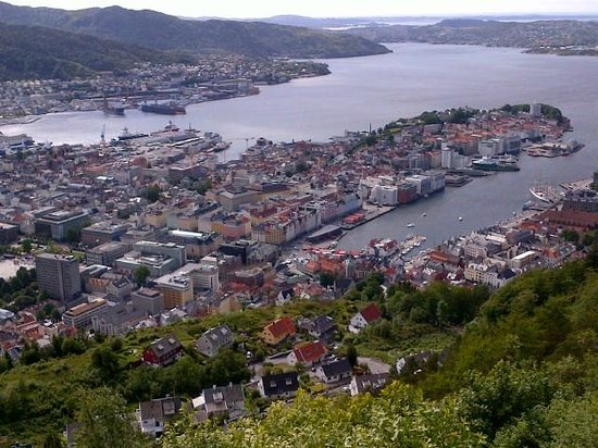 Clarion Collection Hotel No 13: View of Bergen from lookout taking funicular railway