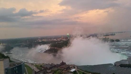 Niagara Falls Marriott on the Falls: view from our room after a storm with the setting sun shining on the clouds.