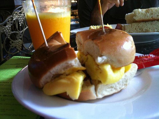Interactive Cafe: Bagel with bacon, eggs and ham.
