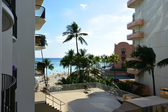 Outrigger Waikiki Beach Resort: Partial ocean view from our third floor room