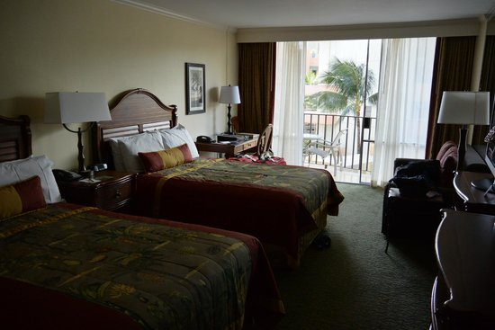 Outrigger Waikiki Beach Resort: Room on the third floor; pretty standard but beds were comfy and it was clean