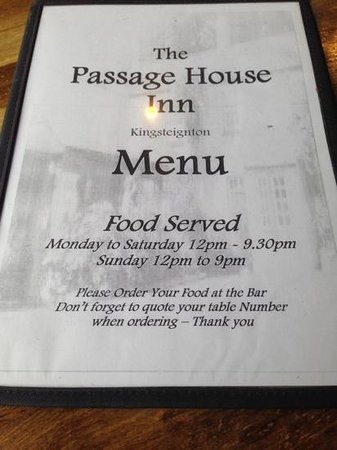 Passage House Inn: the front of the menu!