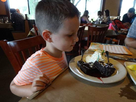 Bonefish Grill: Complimentary gluten free dessert for Grandson's birthday.