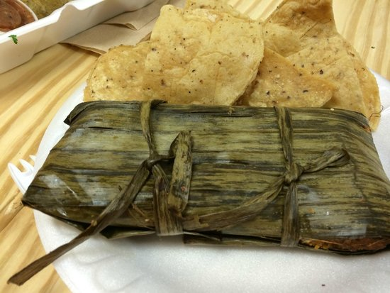 The Tamale Place: Tamale wrapped in banana leaves