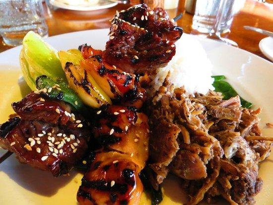 Duke's Beach House : KAANAPALI LUAU PLATE; Kalua pork, teriyaki chicken & steak kabob, steamed rice, ginger bok choy.