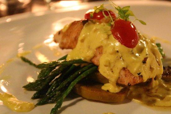 TawaNN: Seared Salmon with Grilled Pumpkin and Creamy Saffron Sauce