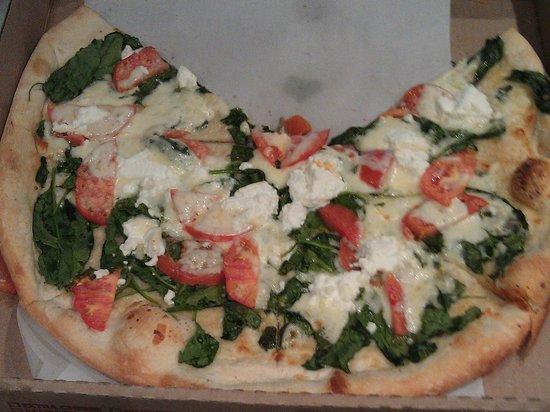 "I LOVE NY PIZZA: A medium 16"" White Tomato Spinach Ricotta w/ garlic sauce & mozzarella (minus 2 slices)"