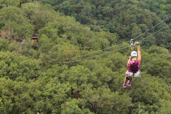 Outdoor Adventure by Vallarta Adventures: my fearful wife on the first zip line