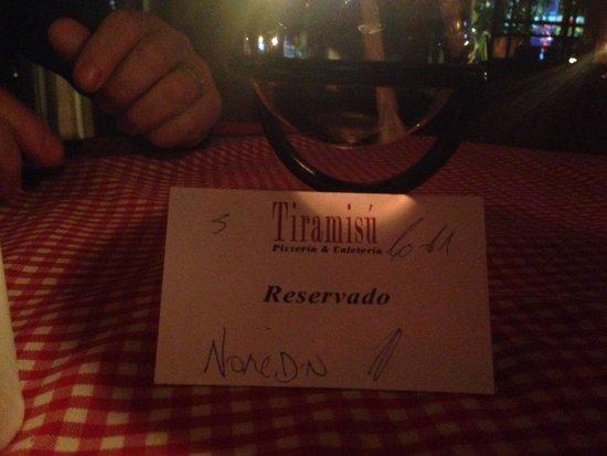 Tiramisú: Reserva