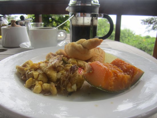 Geejam: Breakfast (slatfish and callaloo) on the Ska deck