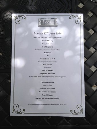The Old Government House Hotel & Spa : Sunday Lunch menu
