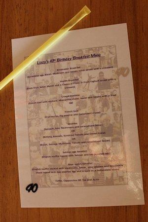 Blue Waters Cafe: menu