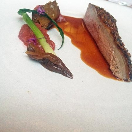 Eleven Madison Park : Duck roasted with rhubarb, shallots and scallions
