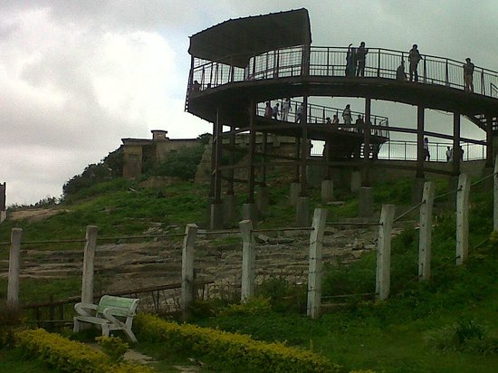 ONE OF THE WELL ERECTED AND BARRICADED VIEW POINTS ON NANDI HILLS, BANGALORE.
