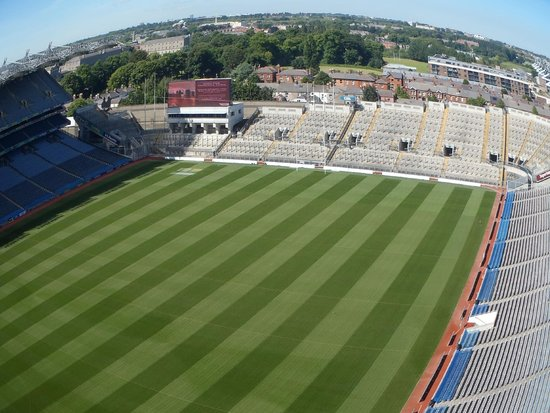 Ericsson Skyline: A fisheye view of Croke Park Field from the skywalk with Dublin in the background.