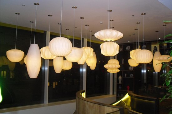 citizenM Rotterdam: lights in lobby